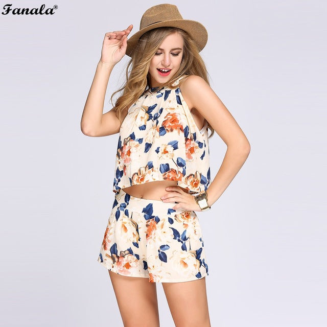 FANALA Women Suit 2017 Two Piece Set Halter Sleeveless Floral Print Crop Top Elastic High Waist Shorts For Women Suits Sets#20