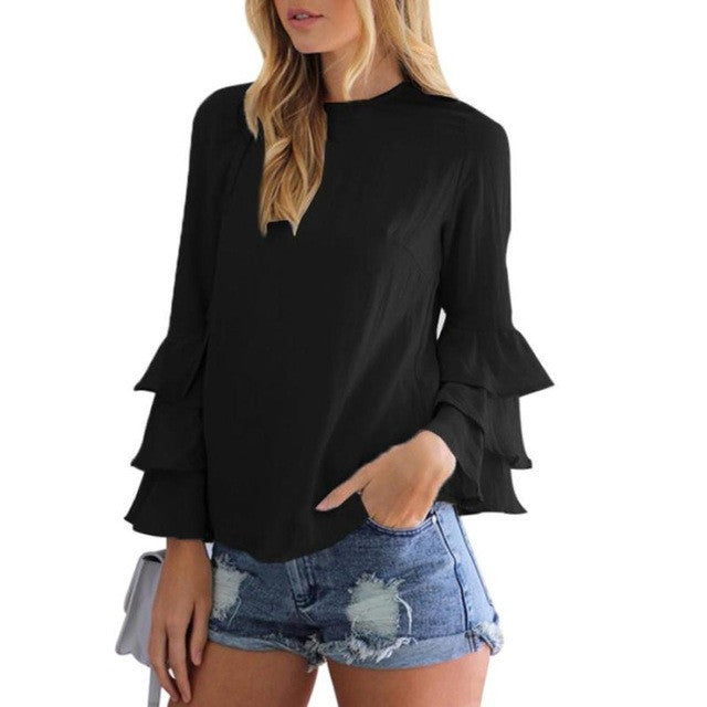 Women Ruffles Long Puff Sleeve Blouse