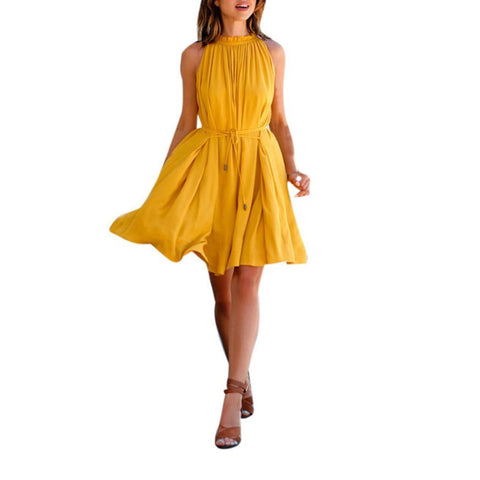 Chiffon Women Summer Dress Sexy Sleeveless Work Wear Party Dresses with Belt For Women Casual Beach Loose yellow Dress vestidos