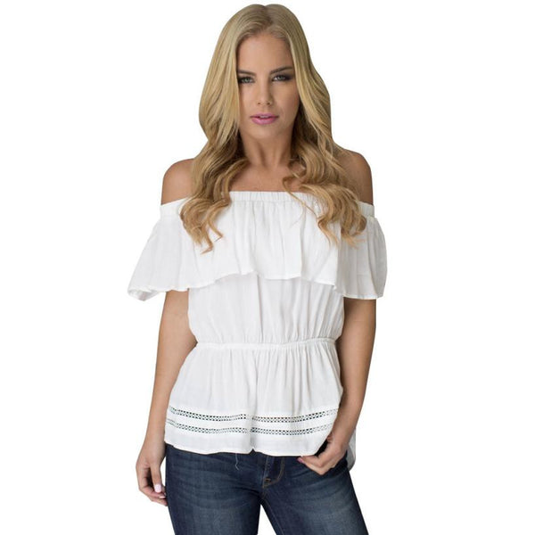 Ruffled Blouse 2017 Women White Off Shoulder Irregular Shirt Casual Summer Beach Blusa Loose Tops Elegant party women blouses