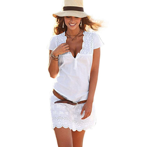 Lace Women Dress 2016 Summer V Neck Lace Short Sleeve Dress White Solid Elegant Ladies Mini dress #LSIW