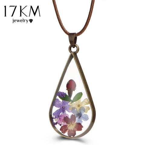 Antique Bronze Dried Flower Glass Pendant Necklace