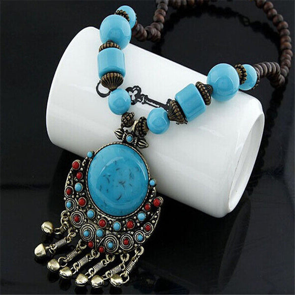 Fancy Bohemian Beaded Long Necklace with Large Pendant & Vintage Ornamentation