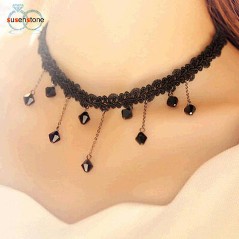 SUSENSTONE Droplets Fashion Black Lace Crochet Beads Collarbone Necklace