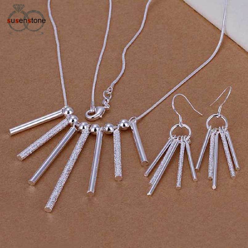 SUSENSTONE Plated Jewelry Set Earrings Necklace Five/Seven Long Sticks