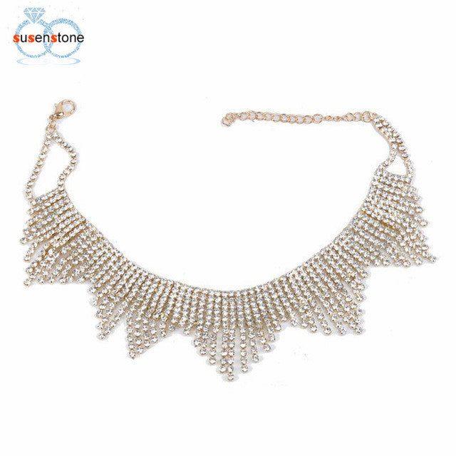SUSENSTONE Women Long Crystal Tassel Multilayer Necklace Elegant Chain Jewelry