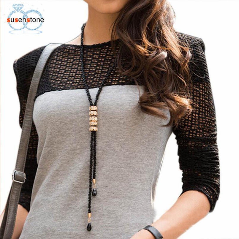 SUSENSTONE Fashion Crystal Fringed Long Sweater Chain Geometry Necklace Chain
