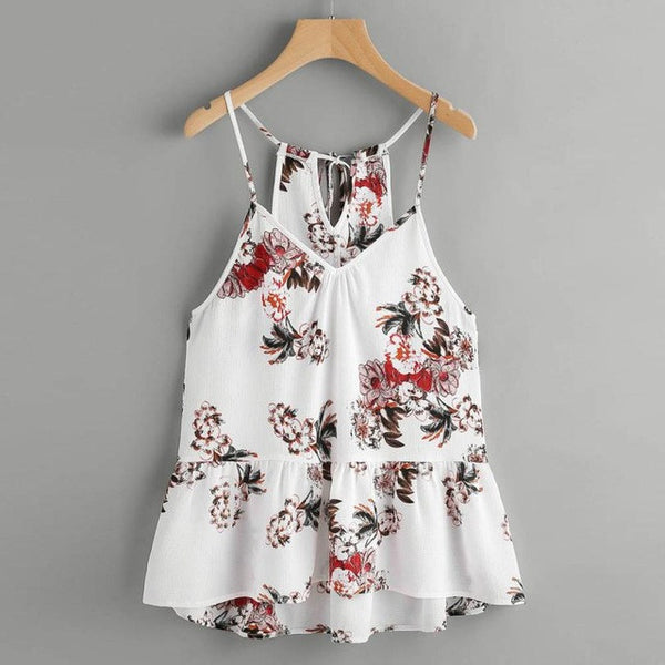 Women Cami Top 2017 Fashion New Floral Printed Casual V-Neck Sleeveless Crop Top Vest Tank Shirt Blouse Blusa