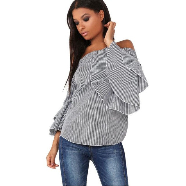 Women's Gray Pinstriped Off-the-Shoulders Flare Sleeve Fall Blouse