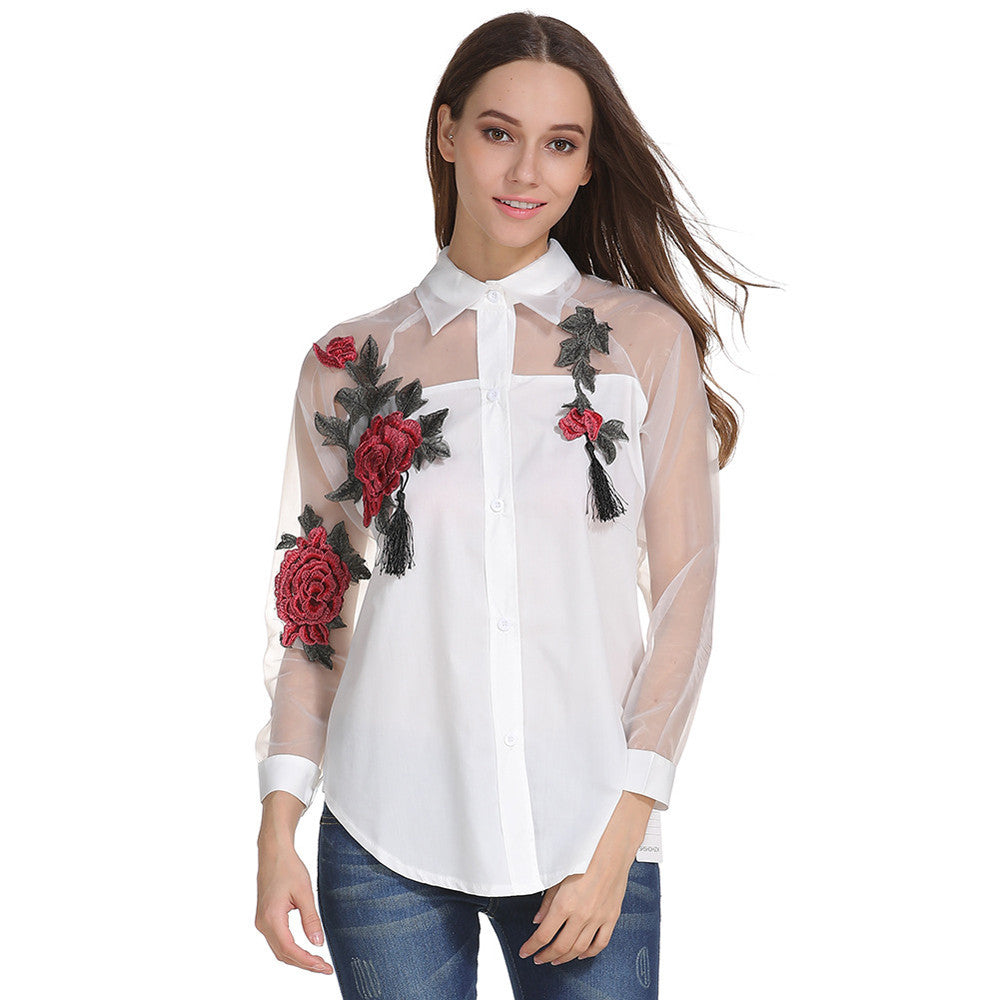 Women Embroidered Long Sleeve Shirt Hollow Mesh Yarn Blouse Tops Blouse