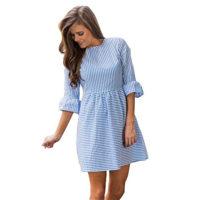 Women Autumn Striped Printing Dress Half Puff Sleeve Mini Dress High Quality Party Dress vestido curto lisos