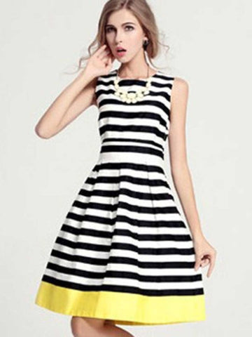 Women's Belted & Striped Pretty Color Block Day Dress