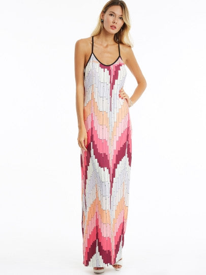 Color Block Strappy Women's Maxi Dress