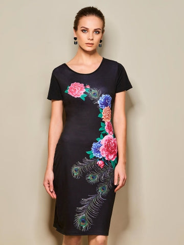 Black Floral Women's Sheath Dress