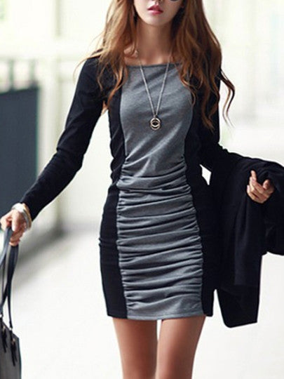 Women's Color Blocking Long-Sleeve Cotton Sheath Dress