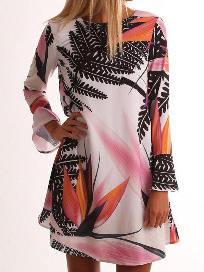 Straight Long Sleeve Printing Women's Day Dress