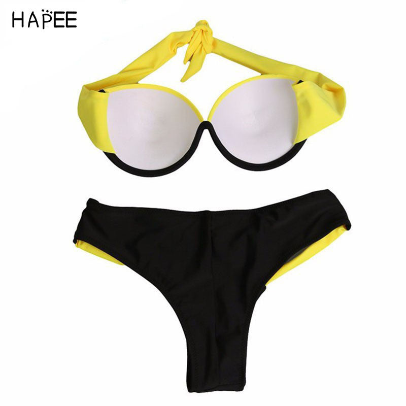 Two Piece Bikini Swimsuit Sexy Swimwear Women Swim Suit with Steel Ring for Beach Swimming Pool