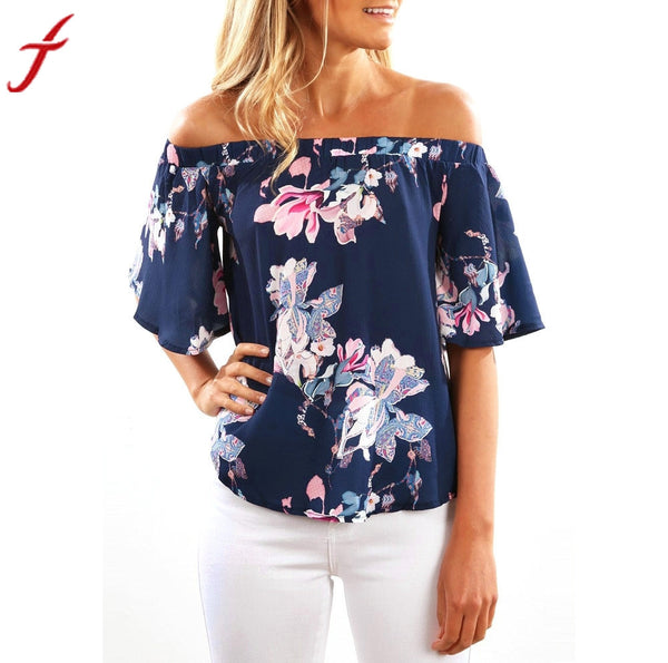 Summer Blouse 2017 Women Fashion ShortSleeve OffShoulder Floral Printing Casual ruffles shirt women Tops Shirt blouse sans manch