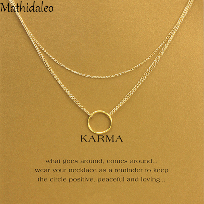 HotSale Karma Triple Chain Layered Necklace Gold Color18 Inch Necklace Women Fashion Jewellery Circle Pendants Necklaces T0260