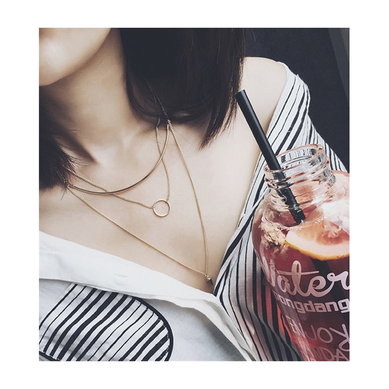 New Collection Karma Triple Chain Layered Necklace Smile Bar Necklace Women Fashion Jewellery Circle Pendants Necklaces D094