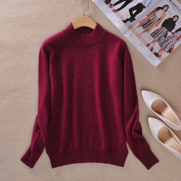 Women's Cashmere Elastic Autumn Winter Half Turtleneck Sweaters and Pullovers Wool Sweater Slim Tight Bottoming Knitted Pullover