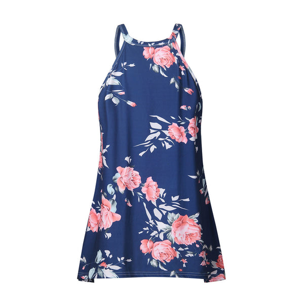 Womens Halter Neck Floral Tank Tops Casual Blouse T Shirt