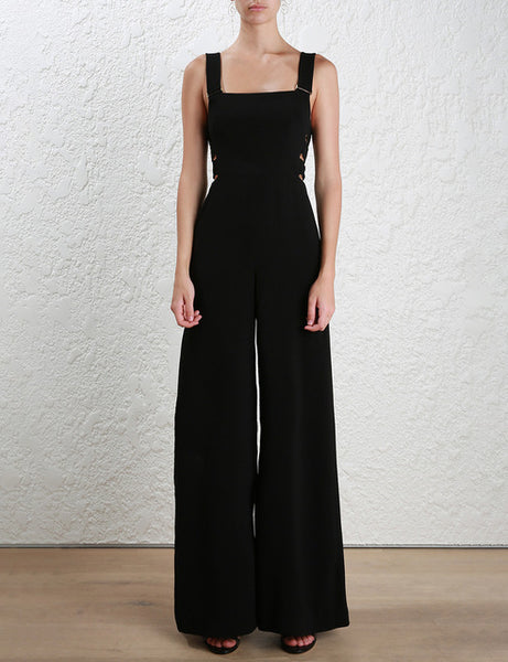AEL Fashion Hollow Out Shoulder-straps Jumpsuits Wide Leg Pants 2017 Summer Elegant Slim Backless Women High Quality Clothes