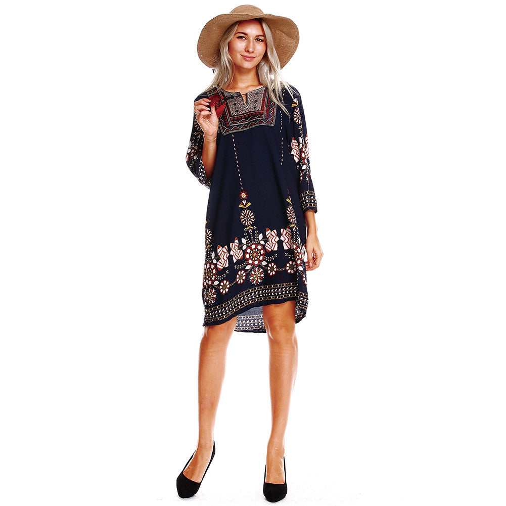Women Boho Tunic Dress Ethnic Embroidered Front Vintage Floral Print Tassels 3/4 Sleeves Beach Loose Dress