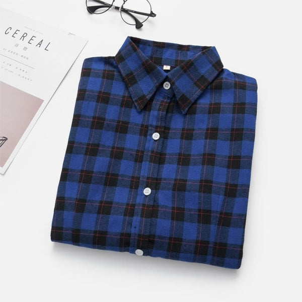 Women's Shirts 2018 Autumn and Winter female shirt plaid shirt women slim long sleeve cotton Blouse top female outerwear