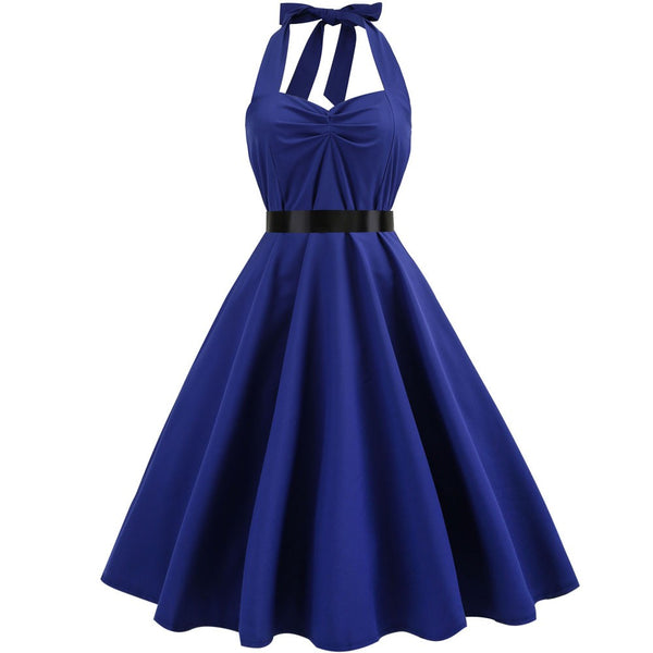 Women Vintage Sleeveless Halter Evening Party Prom Swing Dress