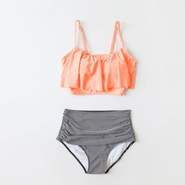 High Waisted Bikini Swimsuits for Women Sexy Two Pieces Striped Swimwear Swim Suit