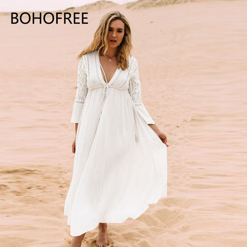 BOHOFREE Plus Size Women Dresses Deep V-neck Bell Sleeve High Waist Floral Lace Cotton Vestidos Maxi Long Bikini Mock Dress