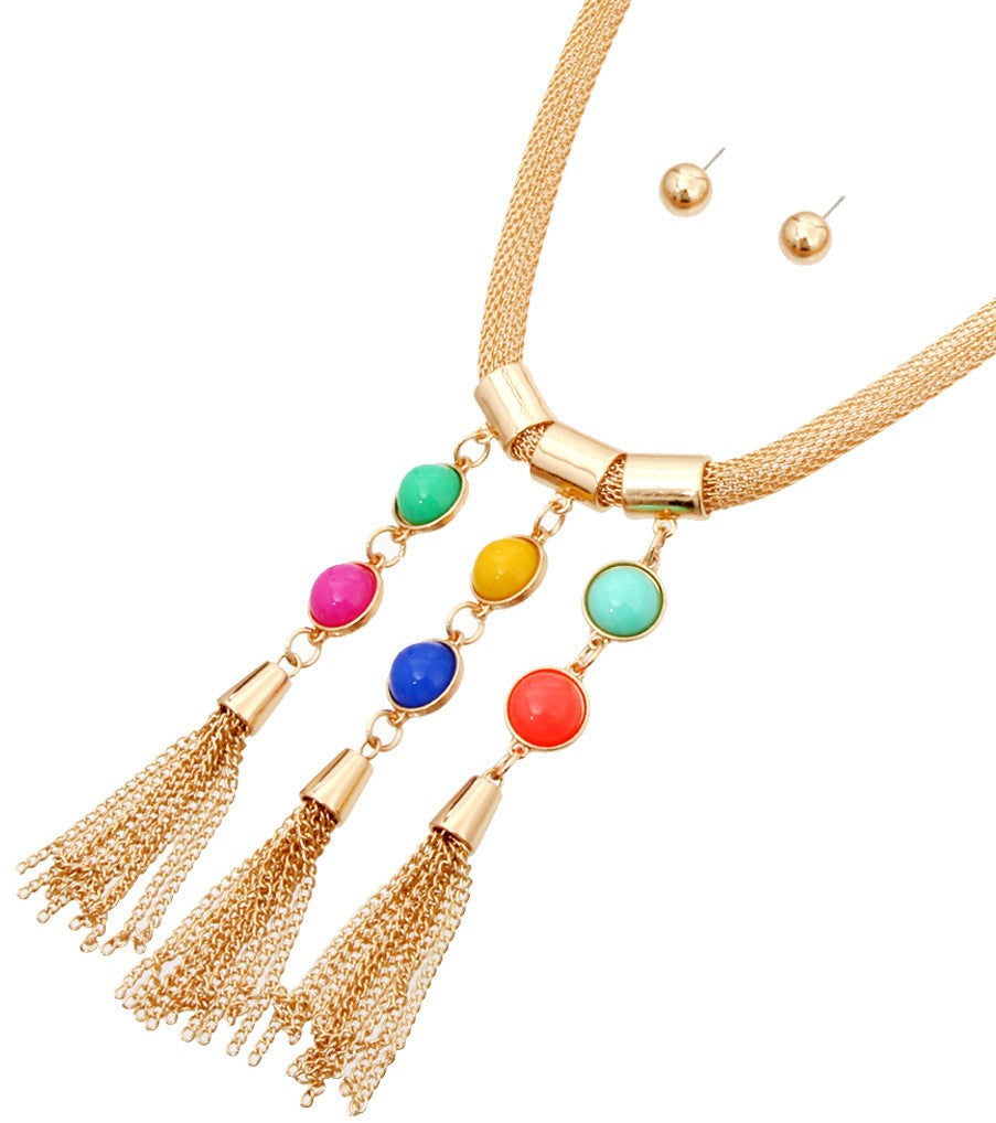 Tassel Beads Necklace Set