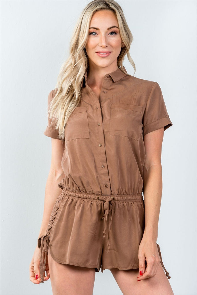 Button Down Lace-up Side Drawstring Romper