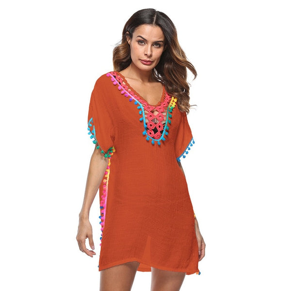 Women Long Kimono Vintage Blouses Shirt Boho Beach Cover Up V Neck Short Sleeve Tassels Fringed Split tunics Swimsuit Coverups