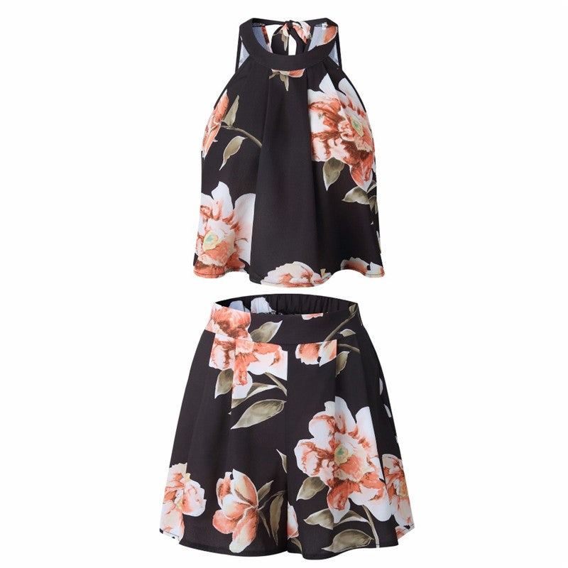 Women floral printed rompers clubwear bow playsuits