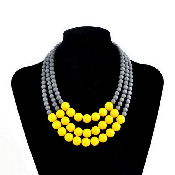 Rainbery 2019 New Style Multi Layer Necklace Gold Color Brand Women Colar Statement Choker Triple Layer African Beads Necklace