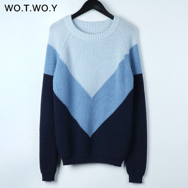WOTWOY Autumn Winter Contrast Color Women Sweater Casual Long Sleeve Pullovers Women O-Neck Knitted Tops Women Jumper Femme Soft