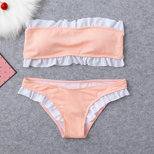 Women Solid Bikini Set Swimming Two Piece Swimsuits Swimwear Beach Suit