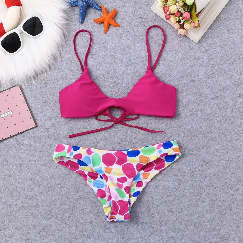 Women Dots Print Bikini Set Swimming Two Piece Swimsuits Swimwear Beach Suit