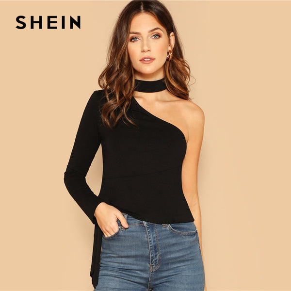 SHEIN Black Choker Neck One Shoulder Knot Side Top Party Long Sleeve Plain Halter Slim Fit Tee 2019 Women Spring T-shirt