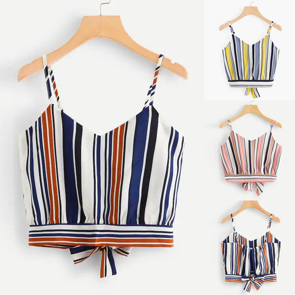 Women's Lady Self Tie Back V Neck Stripe Crop Top Camisole Tank Blouse Tops
