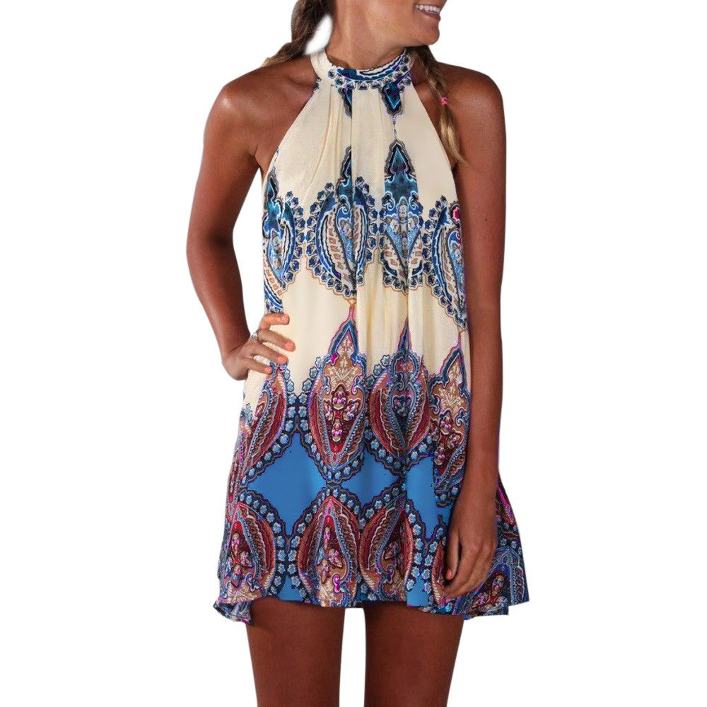 Women's Casual Sleeveless Halter Neck Boho Print Short Dress Sundress