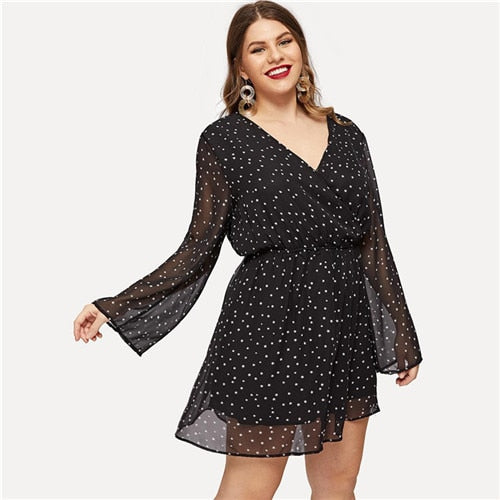 SHEIN Boho Star Print Surplice V Neck Sheer Sleeve High Waist Black Plus Size Women Dress Summer Bohemian Short A-Line Dresses