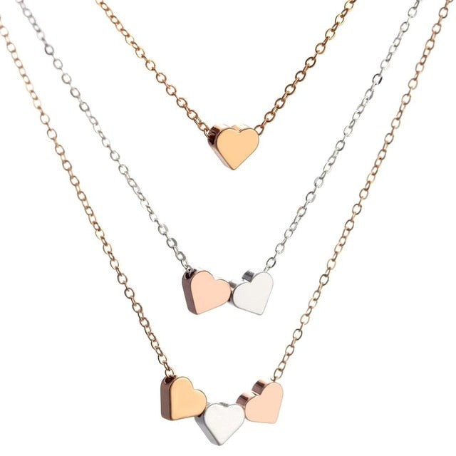 Hesiod Multi-layer Chain Heart Pendant Necklace Short Love Choker Necklace for Women Trendy Rose Gold Silver Color Collares