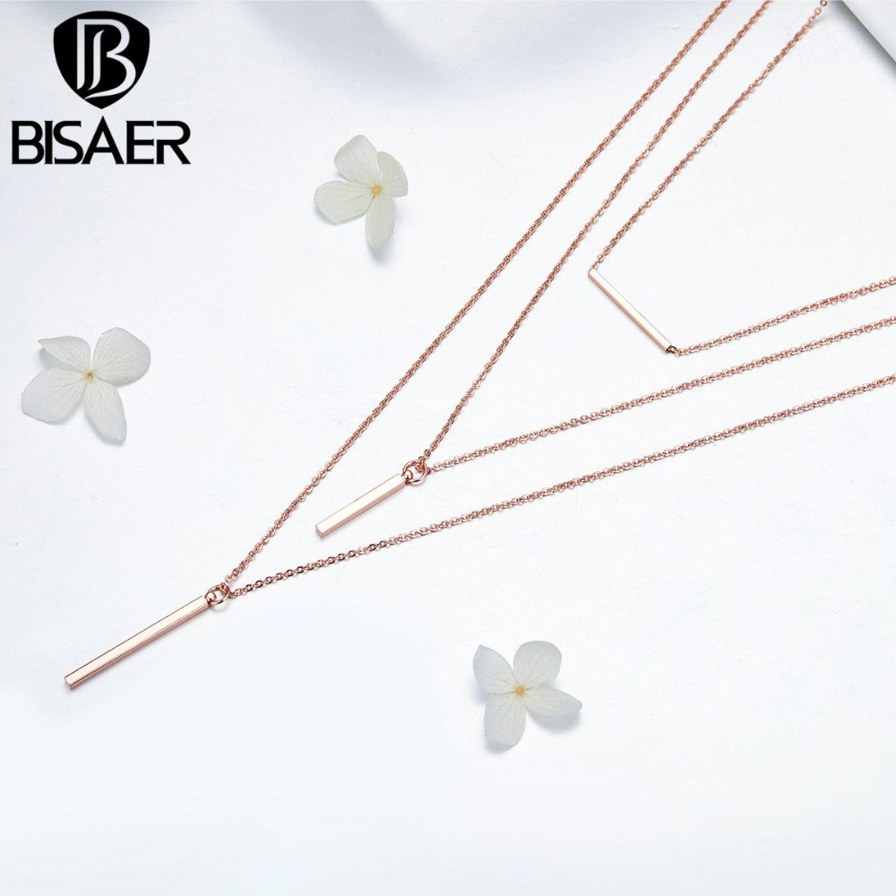 BISAER 3 PCS Pendant Necklace Triple Layers Multi-layer Geometric Chain Necklaces for Women Fashion Jewelry for Party  HWN002