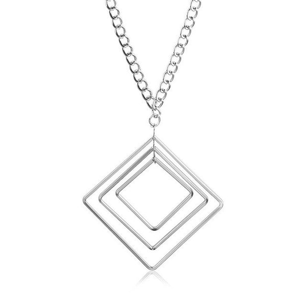 Triple Layers Squares Silver Geometric Pendant Necklace for Women