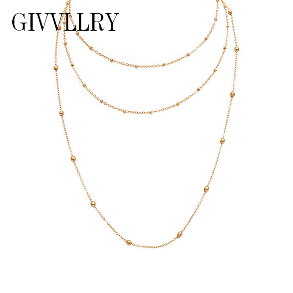 GIVVLLRY Triple Layered Bead Chain Necklace for Women Minimalist Elegant Delicate Gold Silver Color Chain Necklace Jewelry