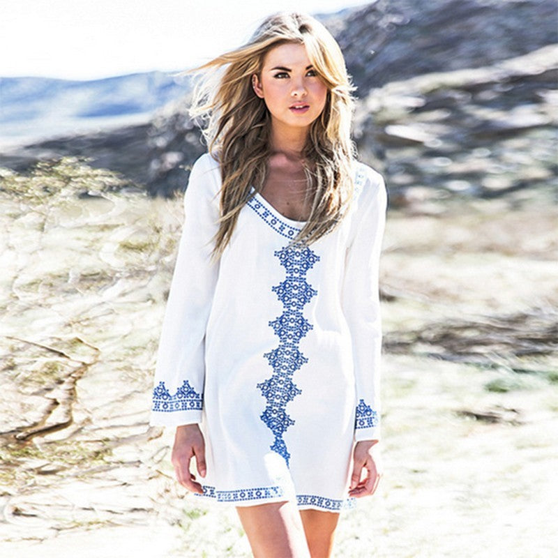 Summer Beach Sunscreen Swimming Suit Cover Ups Embroidery Loose Dresses For Women