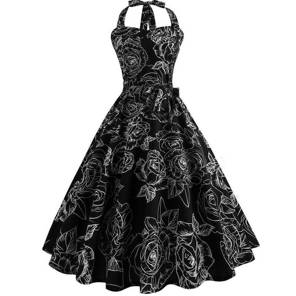 Summer Dress Vintage Floral Print Halter Party Dresses For Women